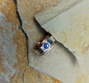 ring Bronze, Sterling silver, Cubic Zirkonia Tanzanite color 6mm - size 8 - 8