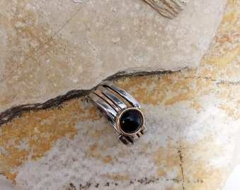 ring Stainless steel, Bronze, Onyx 7mm size 7.75 - 4